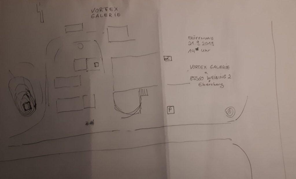 Lageplan der auf Skulpturen spezialisierten Vortex Galerie